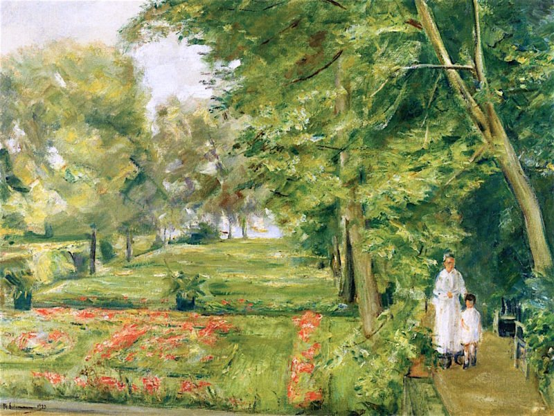 The Artists Granddaughter with the Governess in the Wannsee Garden | Max Liebermann | oil painting