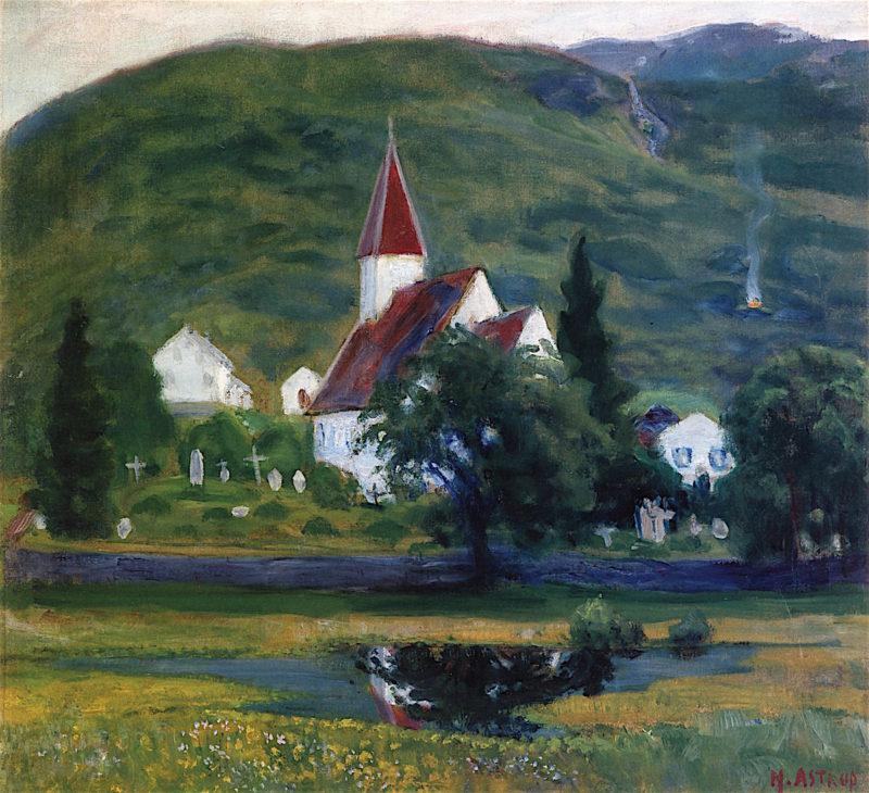 lhus Church   Nicolai Astrup   oil painting