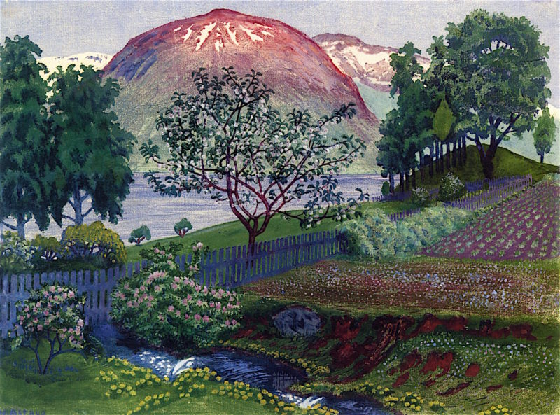 A Night in June in the Garden | Nicolai Astrup | oil painting