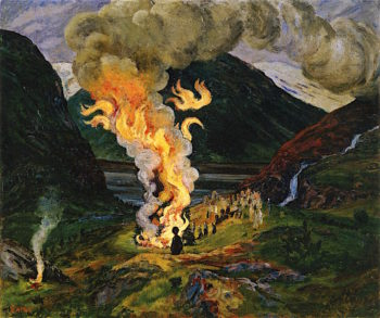 Midsummer Eve Bonfire | Nicolai Astrup | oil painting