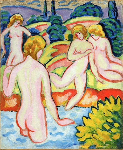 Bathers with Trees of Life | August Macke | oil painting