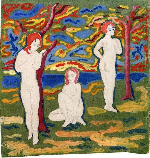 Three Nudes Outdoors | August Macke | oil painting