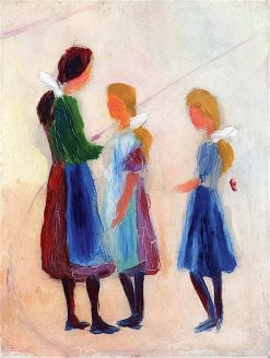 Three Girls with White Hair Ribbons | August Macke | oil painting
