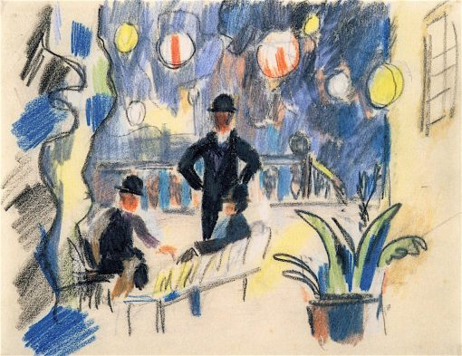 People on a Terrace in the Park | August Macke | oil painting