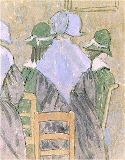 Nuns and Schoolgirls Standing in Church | Gwen John | oil painting