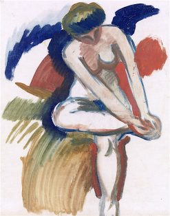 Large Nude on Red Cloth   August Macke   oil painting