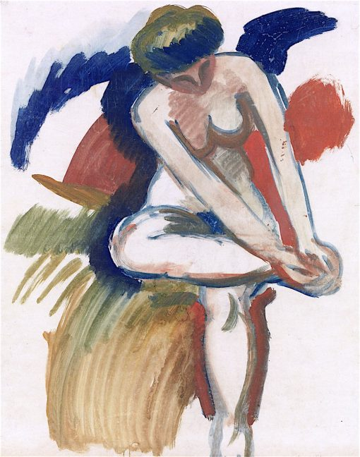 Large Nude on Red Cloth | August Macke | oil painting