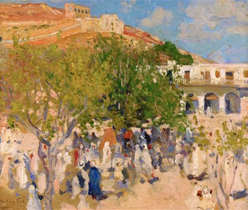 A Market in the Desert | Emanuel Phillips Fox | oil painting