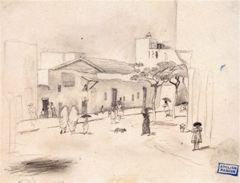 Village in Tunisia   Jules Pascin   oil painting