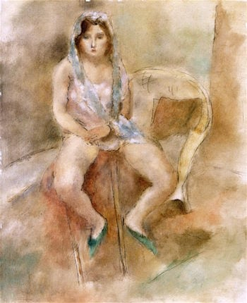 Girl in a Mantle | Jules Pascin | oil painting