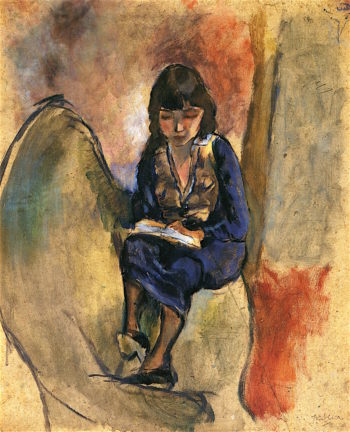 Young Reader in Blue   Jules Pascin   oil painting