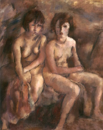 Two Young Swiss Women | Jules Pascin | oil painting