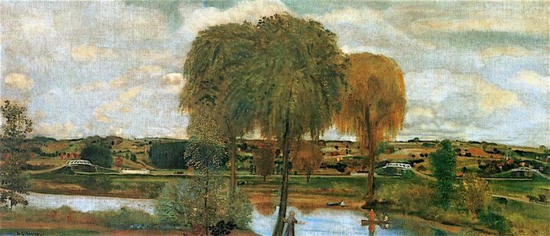 Along the Erie Canal   Arthur B. Davies   oil painting