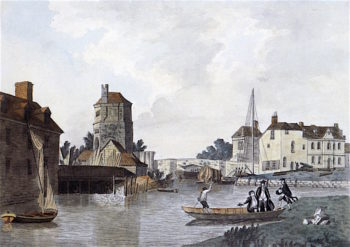 Folly Bridge and Bacons Tower (after M. A. Rooker) | Joseph Mallord William Turner | oil painting