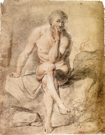 Male Nude Seated Cross - Legged on Rocks