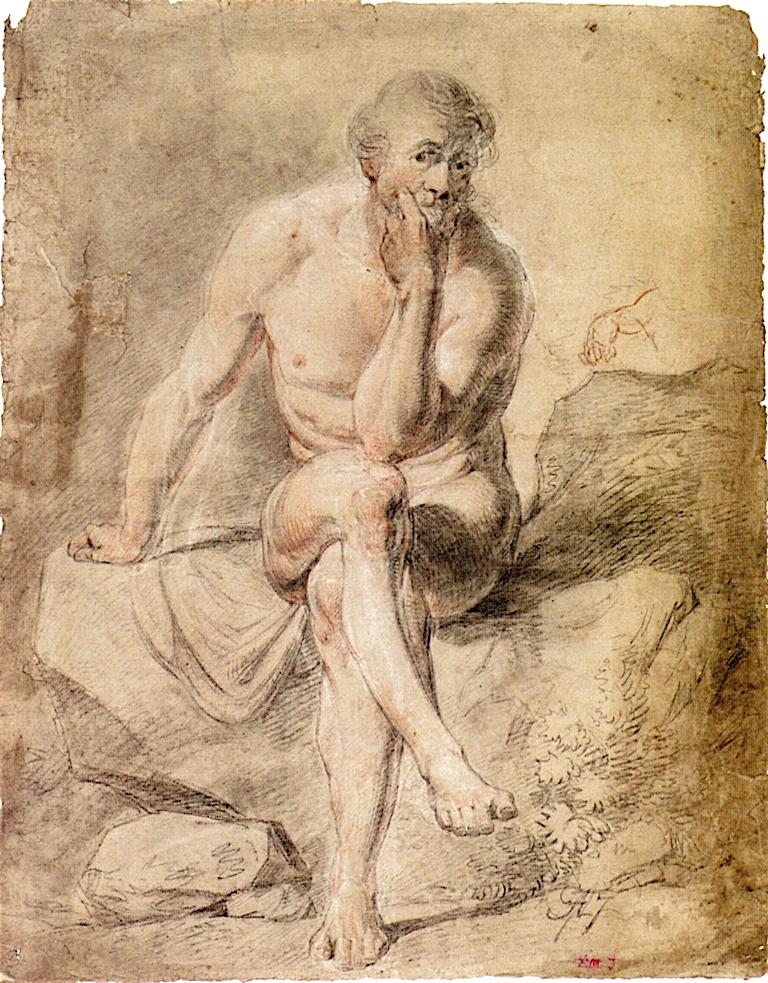 Male Nude Seated Cross - Legged on Rocks