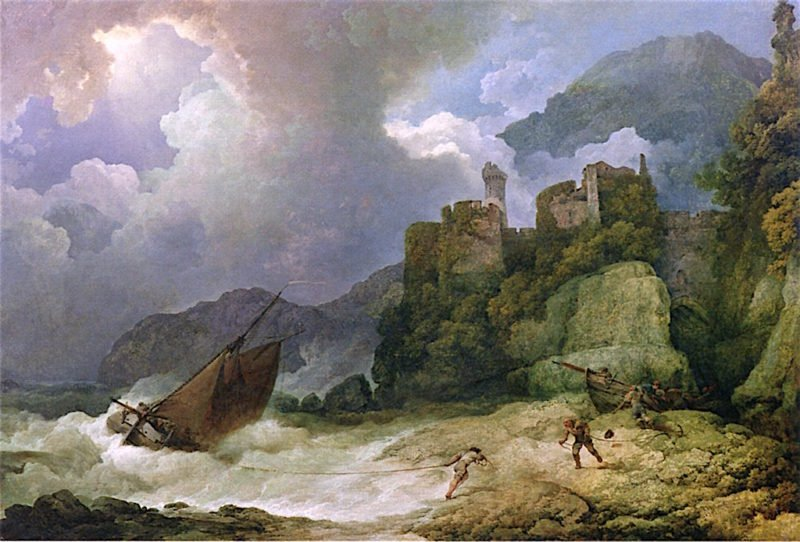 A Storm and Passage Boat Running Ashore | Philippe-Jacques de Loutherbourg | oil painting