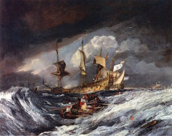 Boats Carrying out Anchors and Cables to Dutch Men of War | Joseph Mallord William Turner | oil painting