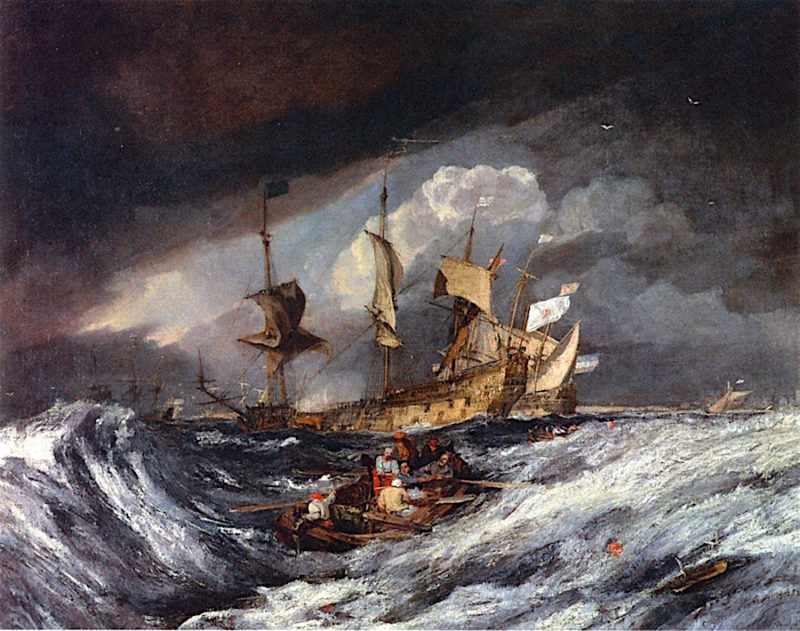 Boats Carrying out Anchors and Cables to Dutch Men of War   Joseph Mallord William Turner   oil painting