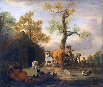 Travelers Asking a Peasant for Directions | Adriaen van de Velde | oil painting