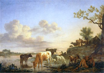 Cattle on a River Bank | Adriaen van de Velde | oil painting