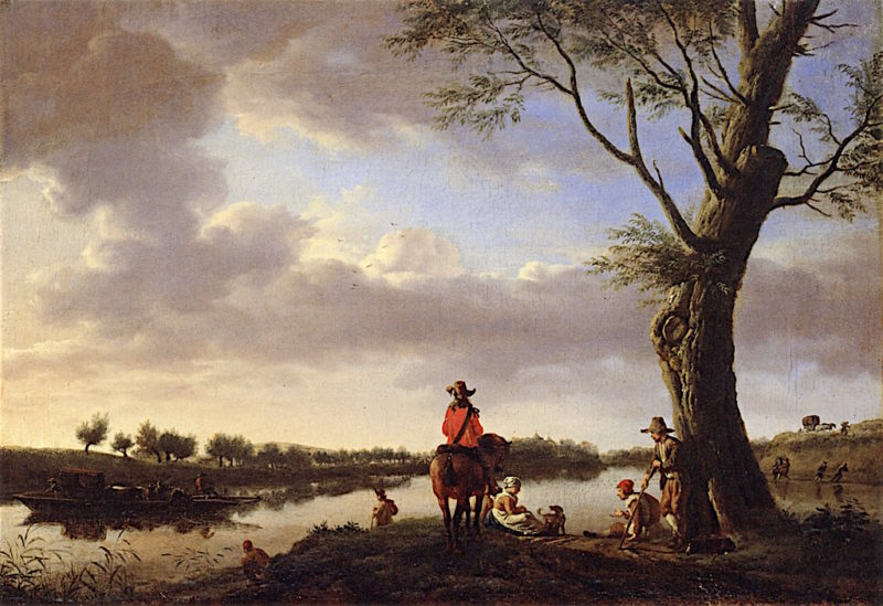 River Landscape in the Late Afternoon | Adriaen van de Velde | oil painting