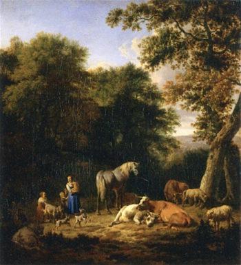 Herders in a Wood | Adriaen van de Velde | oil painting