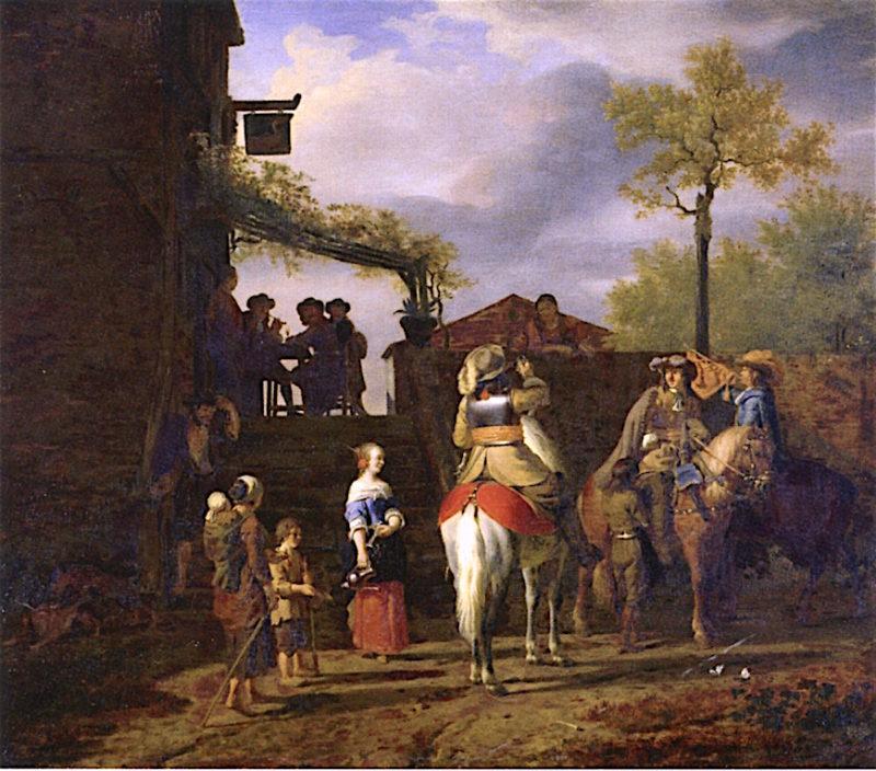 Three Horsemen before an Inn   Adriaen van de Velde   oil painting
