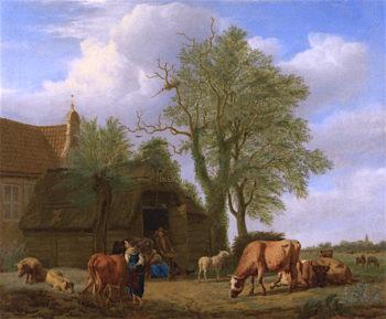 A Country House   Adriaen van de Velde   oil painting