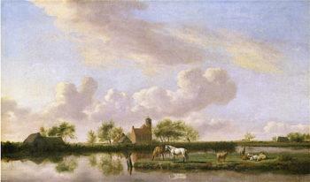 Panoramic River Landscape | Adriaen van de Velde | oil painting