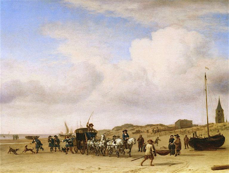 Carriage on the Beach at Scheveningen | Adriaen van de Velde | oil painting