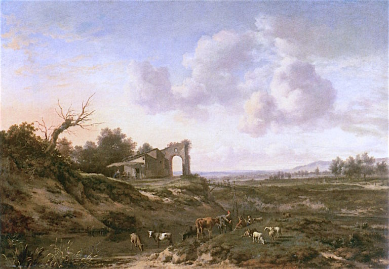 Dune Landscape with Herdsmen and Tavern | Jan Wijnants | oil painting
