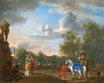 Departure for the Hunt   Adriaen van de Velde   oil painting
