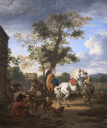 A Hunting Party in the Grounds of a Country House | Adriaen van de Velde | oil painting