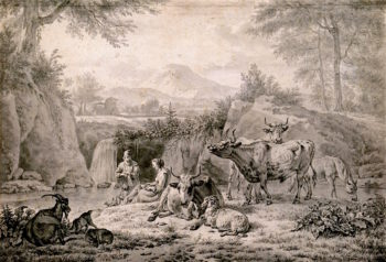 Pastoral Scene at a Waterfall   Adriaen van de Velde   oil painting