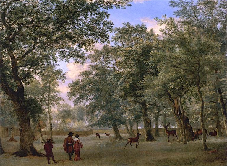 Figures in a Deer Park | Adriaen van de Velde | oil painting