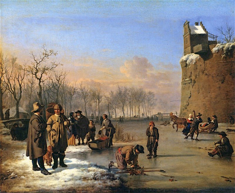 Ice Skating outside the City Wall   Adriaen van de Velde   oil painting