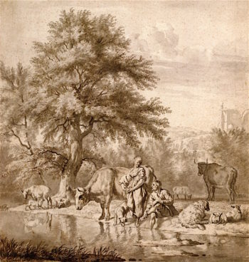 A Herdsman and a Woman with Cows and Sheep by a River | Adriaen van de Velde | oil painting