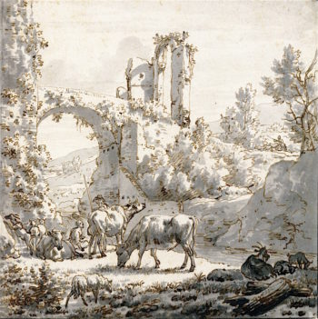 Herdsman and Herdsman with Livestock by a Stream   Adriaen van de Velde   oil painting