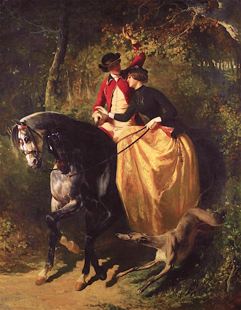 LEntrée au bois   Alfred de Dreux   oil painting