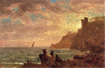 Figures along the Coast of Italy | Albert Bierstadt | oil painting