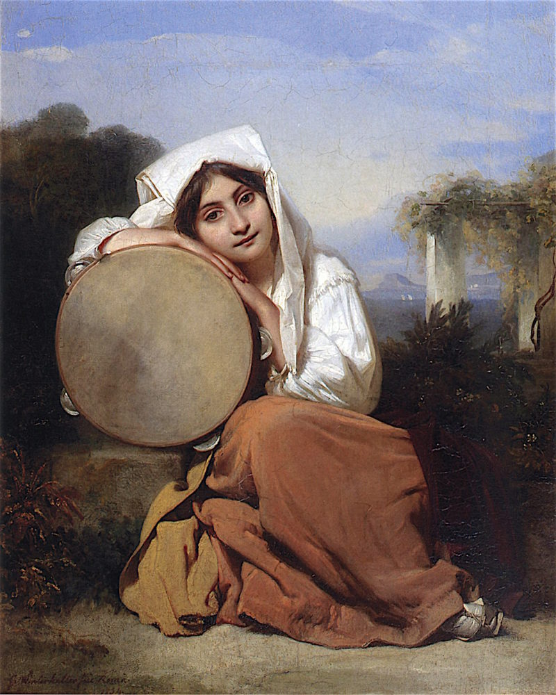 Italian Girl with Tambourine   Franz Xavier Winterhalter   oil painting