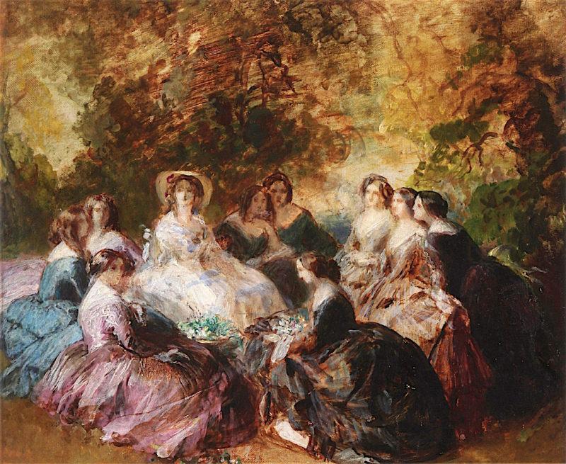 Empress Eugénie and Her Ladies - in - Waiting (oil sketch)   Franz Xavier Winterhalter   oil painting