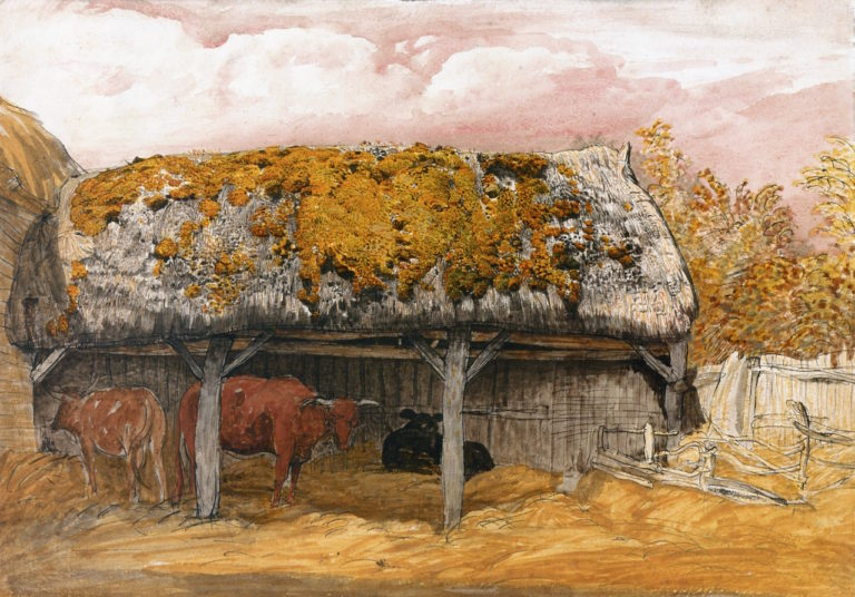 A Cow Lodge with a Mossy Roof | Samuel Palmer | oil painting