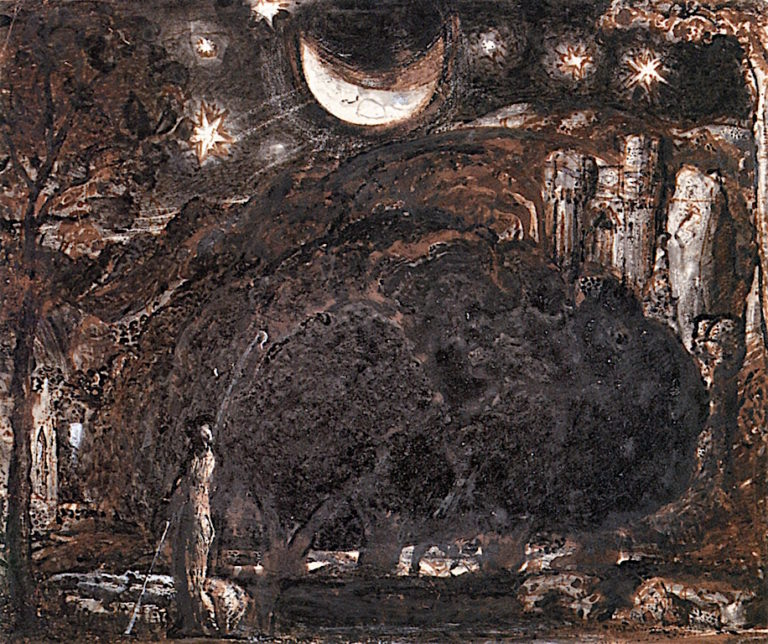 A Shepherd and His Flock under the Moon and Stars | Samuel Palmer | oil painting