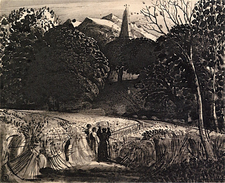 Cornfield and Church by Moonlight | Samuel Palmer | oil painting
