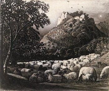 The Flock and the Star | Samuel Palmer | oil painting