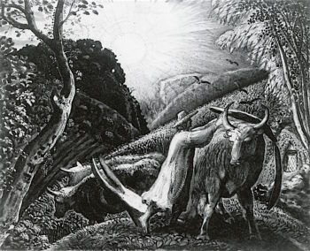 Young Man Yoking an Ox | Samuel Palmer | oil painting