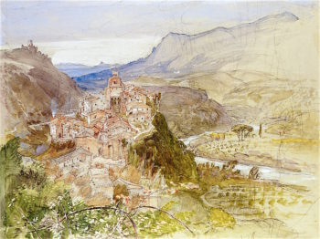 The Village of Papigno on the Nar | Samuel Palmer | oil painting