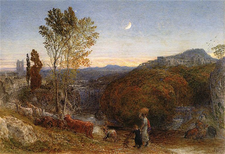 Going Home at Curfew Time | Samuel Palmer | oil painting
